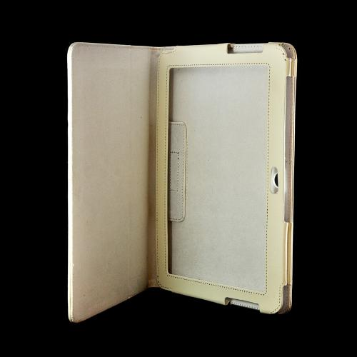 Cream White Faux Leather Case Stand w/ Magnetic Closure for Samsung Galaxy Tab 2 10.1