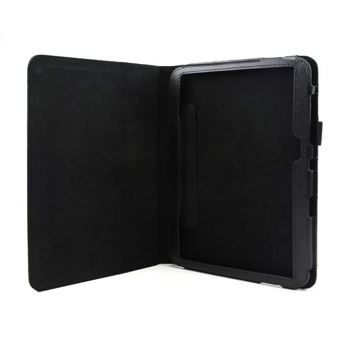 Black Faux Leather Case Stand w/ Magnetic Closure for Samsung Galaxy Tab 3 10.1