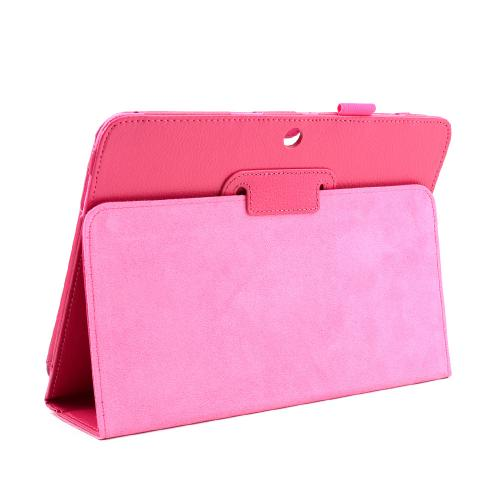 Hot Pink Faux Leather Case Stand w/ Magnetic Closure for Samsung Galaxy Tab 3 10.1