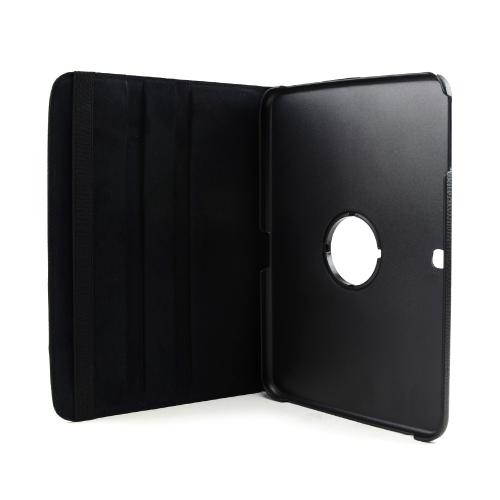 Black Faux Leather Case Stand w/ Rotatable Shield for Samsung Galaxy Tab 3 10.1