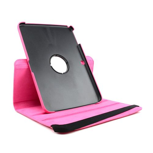 Hot Pink Faux Leather Case Stand w/ Rotatable Shield for Samsung Galaxy Tab 3 10.1