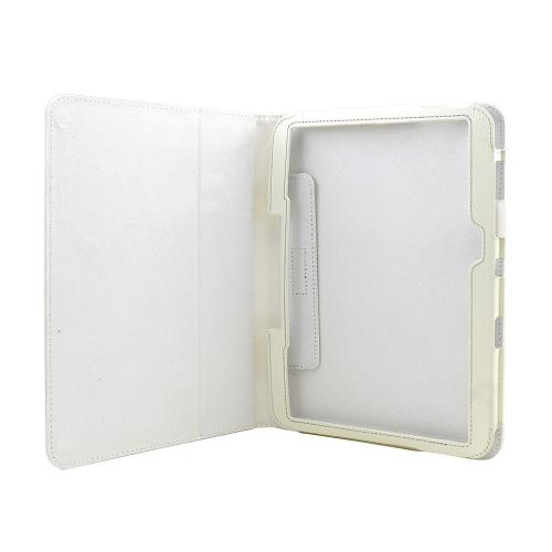 White Faux Leather Case Stand w/ Magnetic Closure for Samsung Galaxy Tab 3 10.1