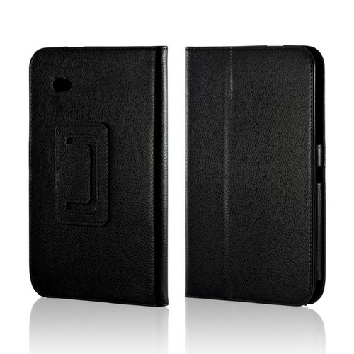Black Faux Leather Case Stand w/ Magnetic Closure for Samsung Galaxy Tab 2 7.0