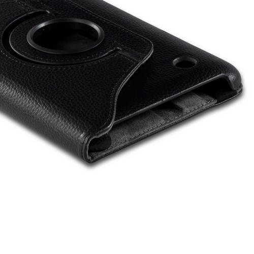 Black Faux Leather Case Stand w/ Rotatable Shield for Samsung Galaxy Tab 2 7.0