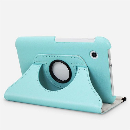 Baby Blue Faux Leather Case Stand w/ Rotatable Shield for Samsung Galaxy Tab 2 7.0