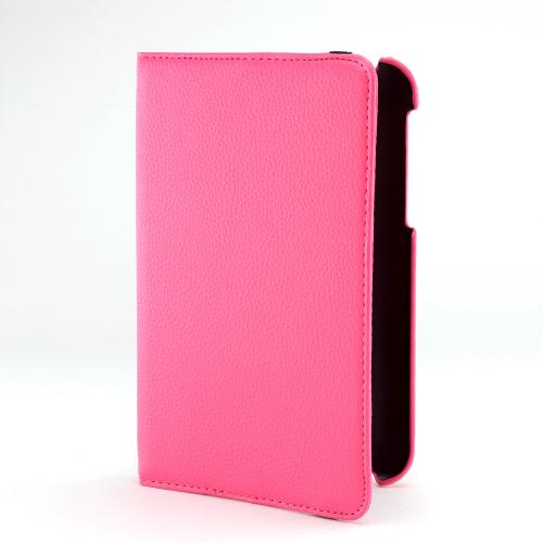 Hot Pink Faux Leather Case Stand w/ Rotatable Shield for Samsung Galaxy Tab 2 7.0