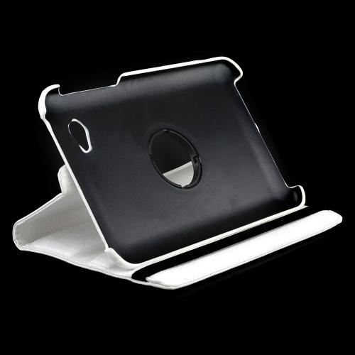 White Faux Leather Case Stand w/ Rotatable Shield for Samsung Galaxy Tab 2 7.0
