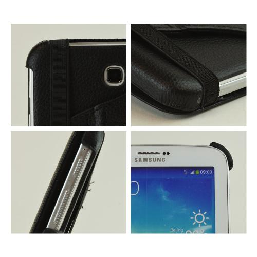 Black Faux Leather Case Stand w/ Rotatable Shield for Samsung Galaxy Tab 3 7.0
