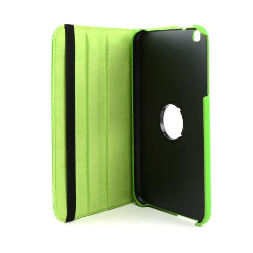 Lime Green Faux Leather Case Stand w/ Rotatable Shield for Samsung Galaxy Tab 3 8.0