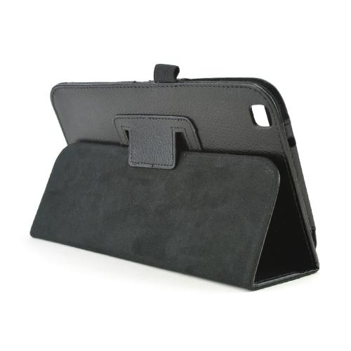 Black Faux Leather Stand Case w/ Magnetic Closure for Samsung Galaxy Tab 3 8.0