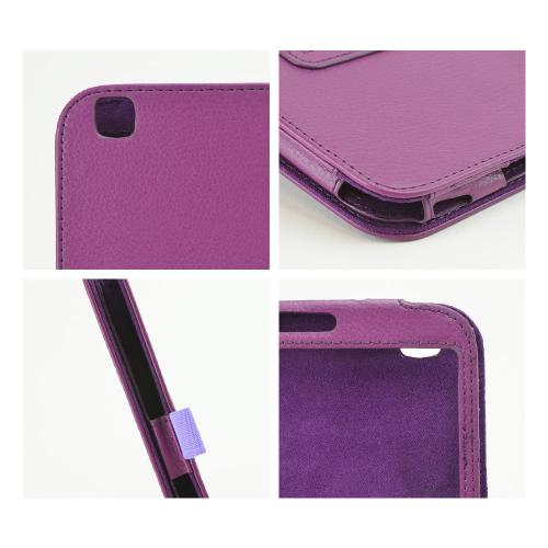 Purple Faux Leather Stand Case w/ Magnetic Closure for Samsung Galaxy Tab 3 8.0