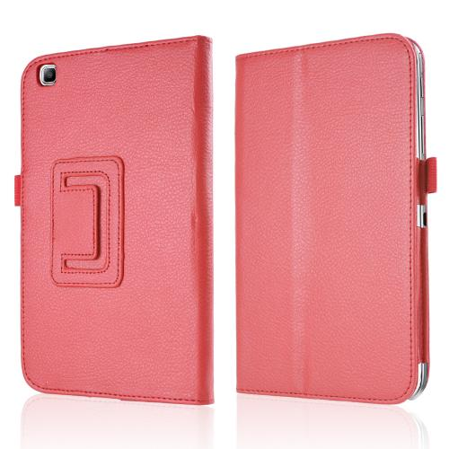 Red Faux Leather Stand Case w/ Magnetic Closure for Samsung Galaxy Tab 3 8.0