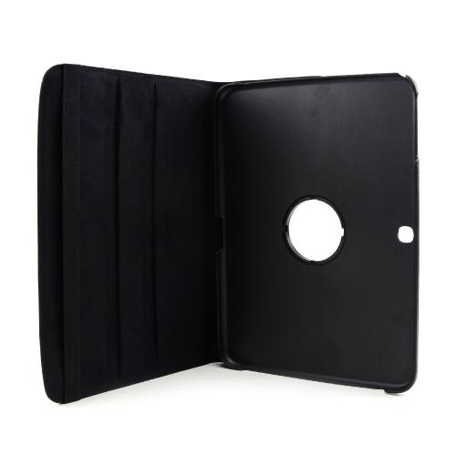 Black Faux Leather Case Stand w/ Rotatable Shield for Samsung Galaxy Tab 3 8.0