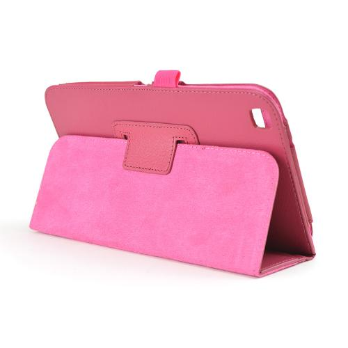 Rose Pink Faux Leather Stand Case w/ Magnetic Closure for Samsung Galaxy Tab 3 8.0