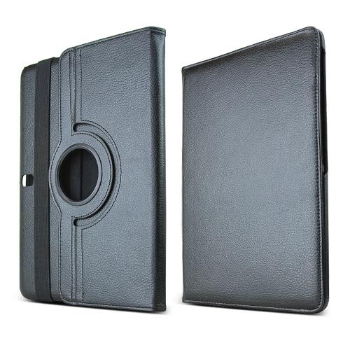 Black Faux Leather Folio Case Stand w/ Rotatable Shield for Samsung Galaxy Tab Pro 10.1