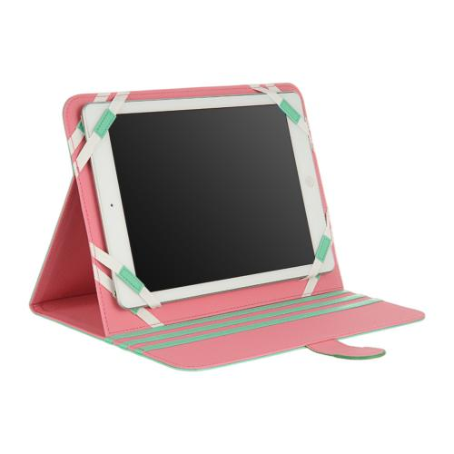 "Mint/ Pink Faux Leather Case Stand for Tablets 9""-10"" (Like iPad Air, Nexus 10, & Samsung Galaxy Tab 3 8.0)"