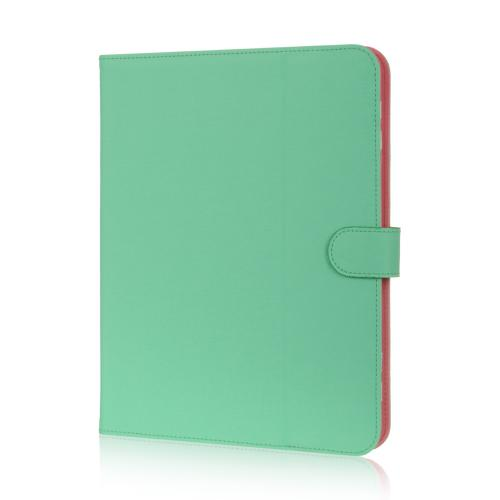 "Mint/ Pink Faux Leather Case Stand for Universal Tablets 9""-10"" (Like iPad Air, Nexus 10, & Samsung Galaxy Tab 3 8.0)"