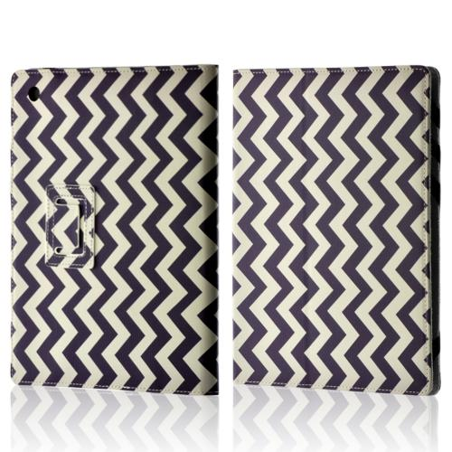 "Purple/ White Zig Zag Faux Leather Case w/ Stand for 10"" Tablets (Like iPad or Nexus 10)"