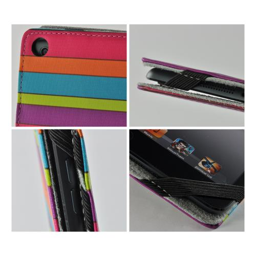 "Rainbow Stripes Faux Leather Case w/ Stand for Universal 7"" Tablets (Like iPad Mini or Nexus 7)"