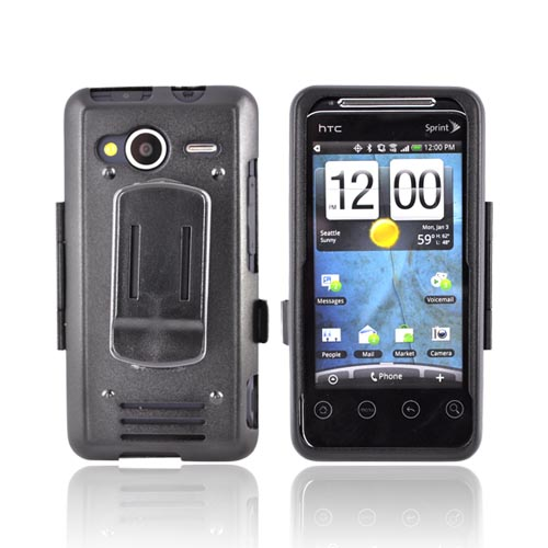 Original Monaco HTC EVO Shift 4G Aluminum Armor Case w/ Belt Clip - Black