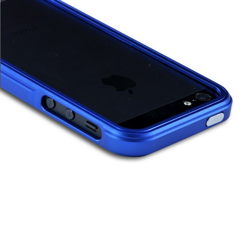 Premium Blue Aluminum Bumper Case w/ Slide-On Front for Apple iPhone 5/5S