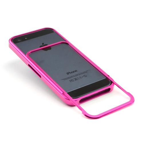 Premium Hot Pink Aluminum Bumper Case w/ Slide-On Front for Apple iPhone 5/5S