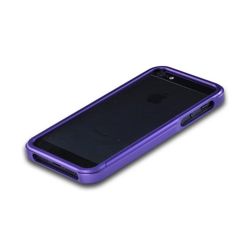 Apple iPhone SE / 5 / 5S Bumper Case,  [Purple]  Premium Aluminum Bumper Case w/ Slide-On Front