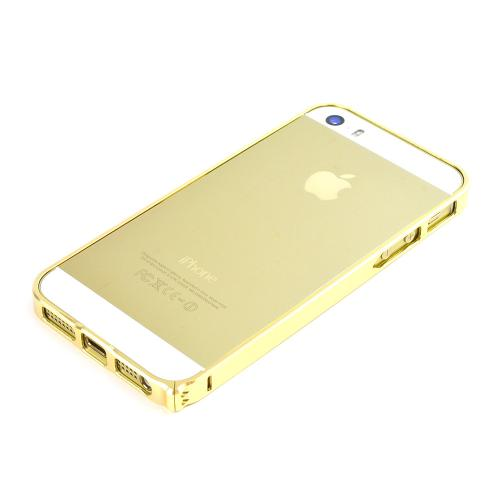 Apple iPhone SE / 5 / 5S Bumper Case,  [Gold]  Premium Aluminum Bumper Case w/ Slide-On Front