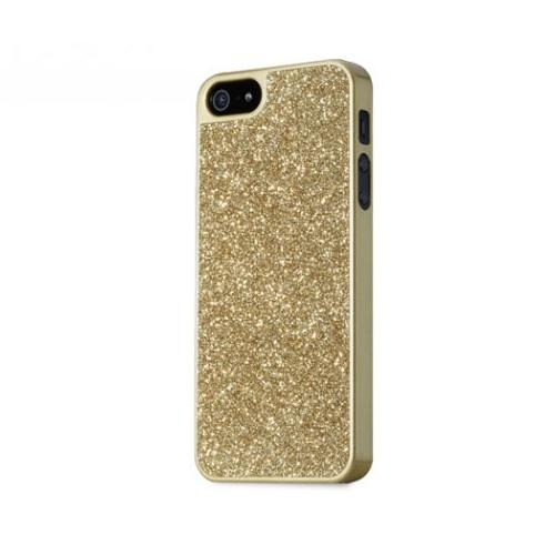 Apple iPhone SE / 5 / 5S Bumper Case,  [Gold w/ Gems]  Premium Aluminum Bumper Case w/ Slide-On Front