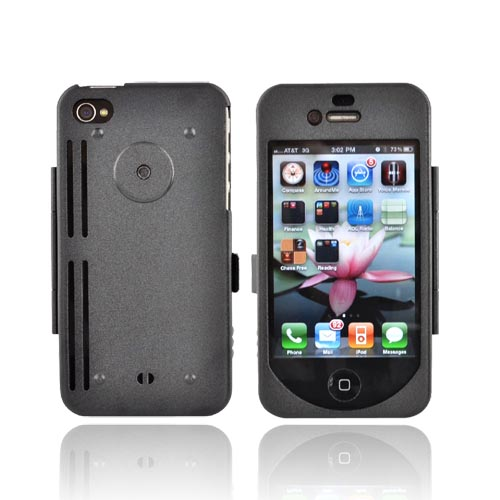 Original Monaco Apple iPhone 4S, AT&T/Verizon iPhone 4 Aluminum Armor Case w/ Belt Clip and Strap - Black