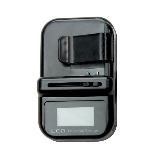 Universal Battery Charger w/ LCD Screen - Black/White