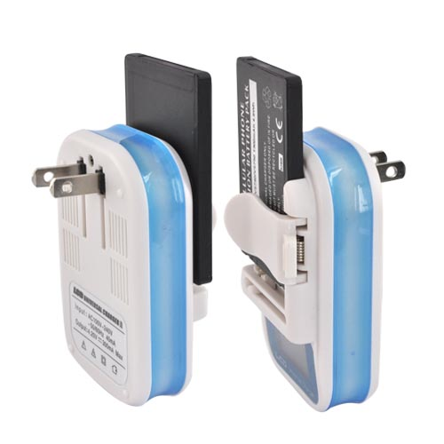 Universal Battery Charger w/ LCD Screen - Blue/White