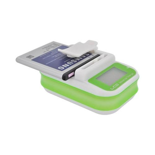 Universal Battery Charger w/ LCD Screen - Green/ White