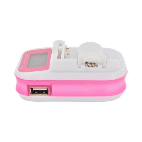 Essential Charging Bundle With Premium Universal Pink/ White Battery Charger w/ LCD Screen/ USB Port & Hot Pink Micro USB Charge/ Sync Data Cable