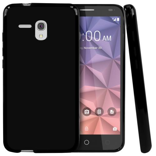 Alcatel OneTouch Fierce XL Case, [Black] Slim & Flexible Crystal Silicone TPU Protective Case