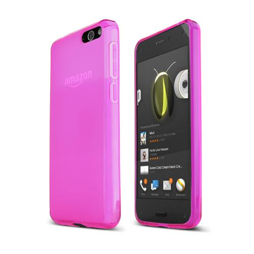 Hot Pink Amazon Fire Phone Flexible Crystal Silicone TPU Case - Conforms To Your Phone Without Stretching Out!