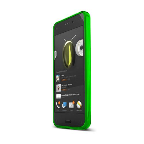 Neon Green Amazon Fire Phone Flexible Crystal Silicone TPU Case - Conforms To Your Phone Without Stretching Out!