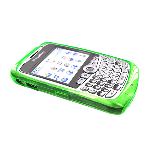 Blackberry Curve 8330, 8320, 8310, 8300 Crystal Silicone Case - Argyle Diamonds on Transparent Green