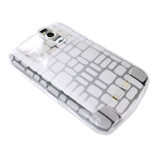 Blackberry Curve 8330, 8320, 8310, 8300 Crystal Silicone Case - Square Pattern on Transparent Clear