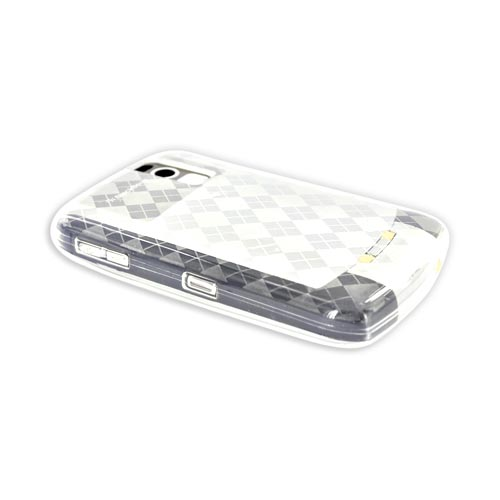 Blackberry Curve 8330, 8320, 8310, 8300 Crystal Silicone Case, Rubber Skin - White Argyle Diamonds