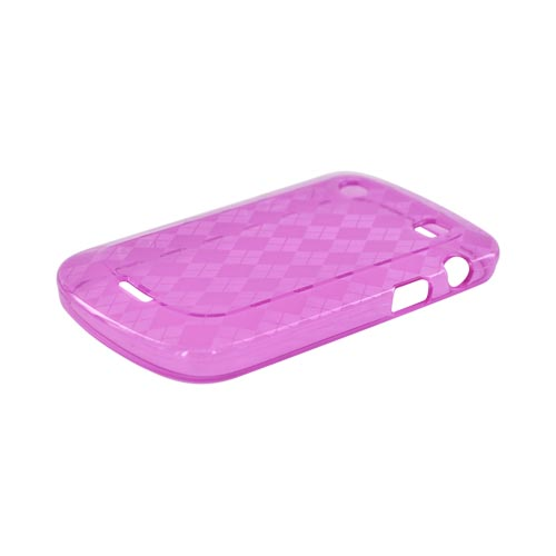 Blackberry Bold 9900, 9930 Crystal Silicone Case - Transparent Pink Argyle