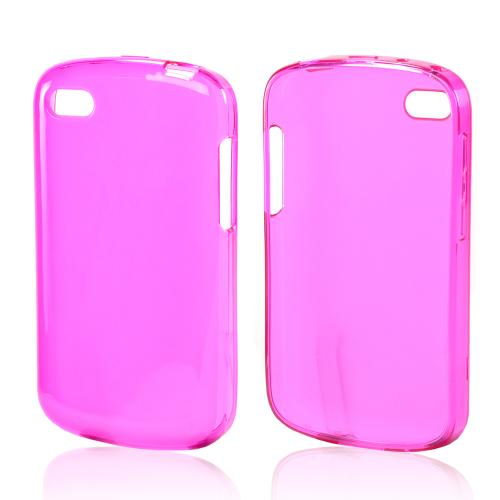Matte Hot Pink Crystal Silicone Case w/ Polished Borders for Blackberry Q10