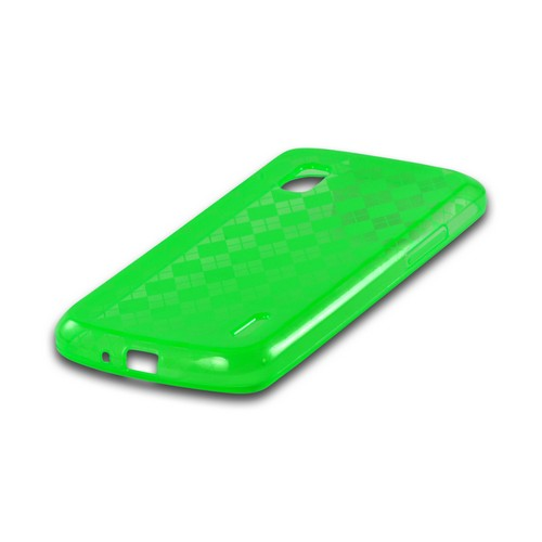 Argyle Neon Green Crystal Silicone Case for LG Google Nexus 4