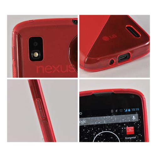 Red S Design Crystal Silicone Case for LG Google Nexus 4