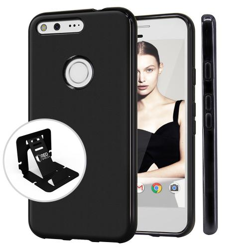 Google Pixel Case, REDshield [Black] Slim & Flexible Anti-shock Crystal Silicone Protective TPU Gel Skin Case Cover
