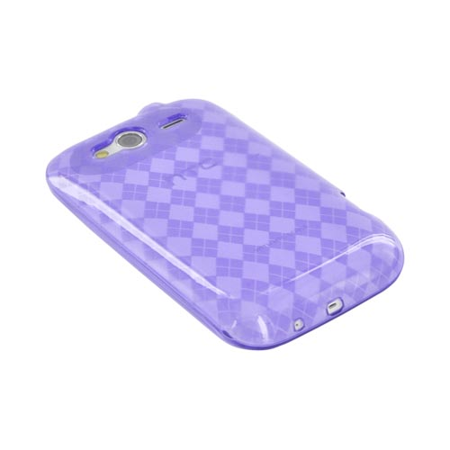 T-Mobile HTC Wildfire S Crystal Silicone Case - Argyle Purple