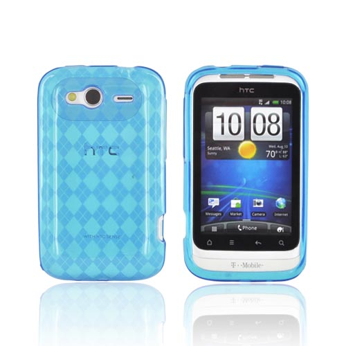 T-Mobile HTC Wildfire S Crystal Silicone Case - Argyle Turquoise