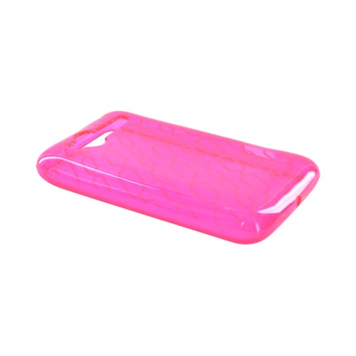 HTC Bee/Wildfire Crystal Silicone Case - Chain Design on Hot Pink