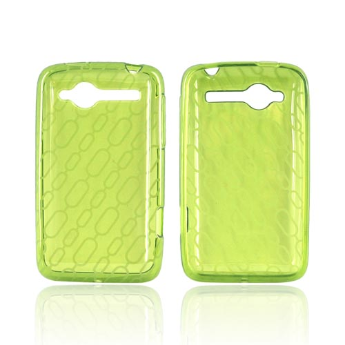 HTC Bee/Wildfire Crystal Silicone Case - Chain Design on Neon Green