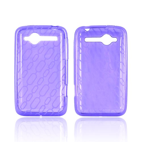 HTC Bee/Wildfire Crystal Silicone Case - Chain Design on Purple